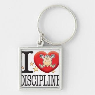 Hombre del amor de la disciplina llavero cuadrado plateado