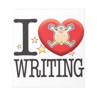 Hombre del amor de la escritura bloc de notas