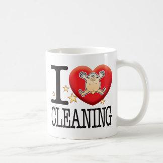 Hombre del amor de la limpieza taza básica blanca