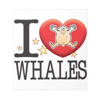 Hombre del amor de las ballenas bloc de notas
