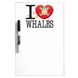 Hombre del amor de las ballenas tableros blancos