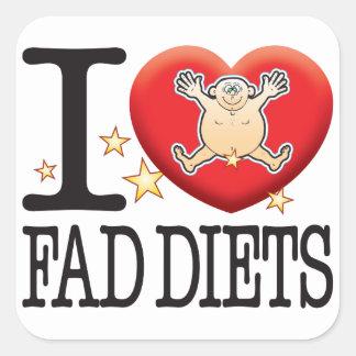 Hombre del amor de las dietas de novedad pegatina cuadrada