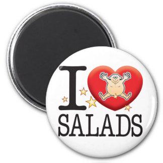 Hombre del amor de las ensaladas imán redondo 5 cm