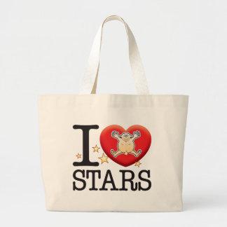 Hombre del amor de las estrellas bolsa tela grande
