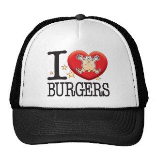 Hombre del amor de las hamburguesas gorras de camionero