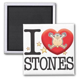 Hombre del amor de las piedras imán cuadrado