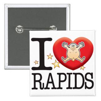 Hombre del amor de los Rapids Pin Cuadrada 5 Cm