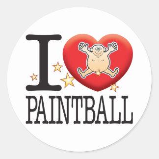 Hombre del amor de Paintball Pegatina Redonda