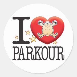 Hombre del amor de Parkour Pegatina Redonda