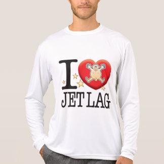 Hombre del amor del jet lag playeras