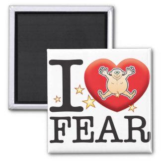 Hombre del amor del miedo imán cuadrado
