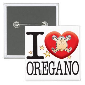 Hombre del amor del orégano pin cuadrado