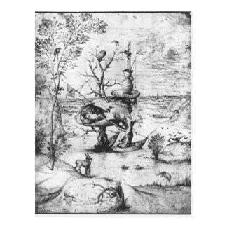 Hombre del árbol de Hieronymus Bosch Tarjetas Postales