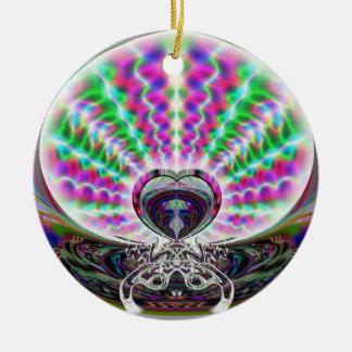 Hombre del baile y ornamento del escarabajo adorno navideño redondo de cerámica