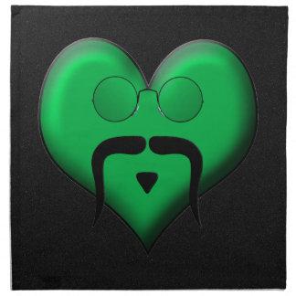 ¡Hombre del bigote en el corazón verde muy retro Servilletas