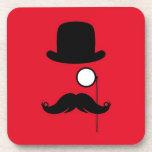 Hombre del bigote en fondo rojo posavasos