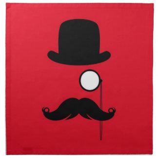 Hombre del bigote en fondo rojo servilletas imprimidas