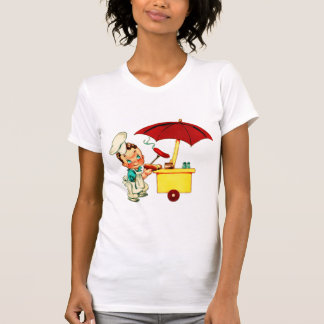 Hombre del carro del perrito caliente de los camisas