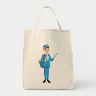 hombre del correo bolsa tela para la compra
