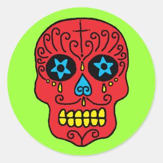 Hombre del cráneo del azúcar etiquetas redondas