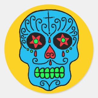 Hombre del cráneo del azúcar pegatina redonda
