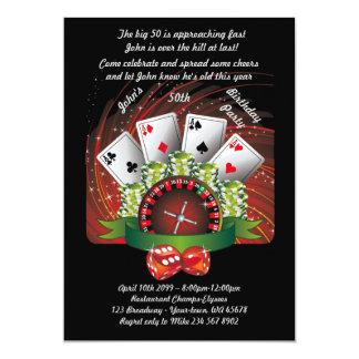 """Hombre del cumpleaños cualquier edad, póker, invitación 5"""" x 7"""""""