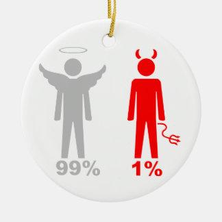 Hombre del diablo del ángel el 1% del 99% adorno redondo de cerámica