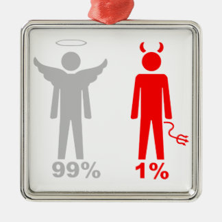 Hombre del diablo del ángel el 1% del 99% adorno cuadrado plateado