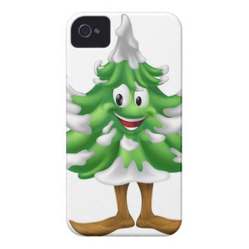 Hombre del dibujo animado del árbol de navidad iPhone 4 Case-Mate fundas