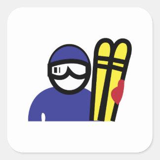 Hombre del esquí calcomanía cuadrada