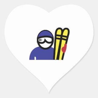 Hombre del esquí pegatina en forma de corazón