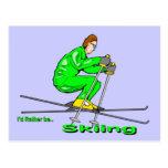 Hombre del esquí postales