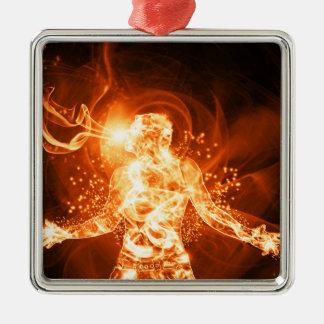Hombre del fuego adorno navideño cuadrado de metal