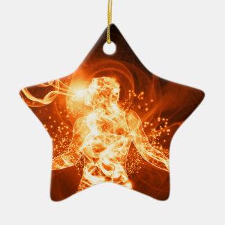 Hombre del fuego adorno navideño de cerámica en forma de estrella