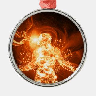 Hombre del fuego adorno navideño redondo de metal