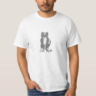 Hombre del gato del dibujo animado polera