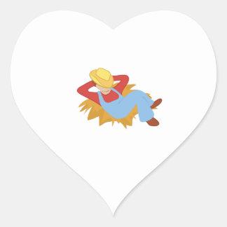 Hombre del granjero calcomania corazon personalizadas