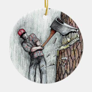 Hombre del hacha ninguna motosierra del stihl adorno navideño redondo de cerámica