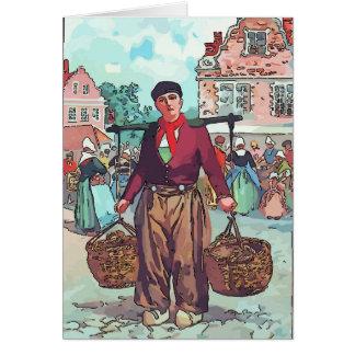 Hombre del holandés del vintage tarjeta de felicitación