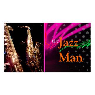 Hombre del jazz luces de neón elegantes colores f plantillas de tarjetas personales