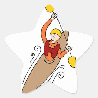 Hombre del kajak del Rowing Pegatina En Forma De Estrella
