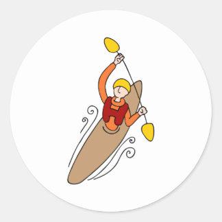 Hombre del kajak del Rowing Pegatina Redonda