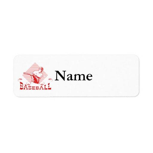 Hombre del logotipo del béisbol etiqueta de remite