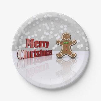 Hombre del navidad del pan de jengibre del encanto plato de papel de 7 pulgadas