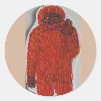 Hombre del Neanderthal Etiqueta Redonda