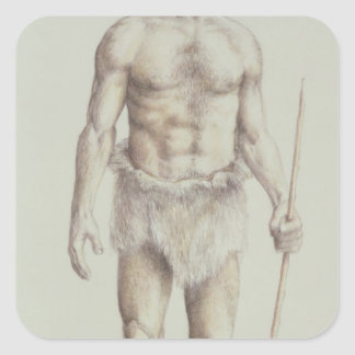 Hombre del Neanderthal Pegatina Cuadrada