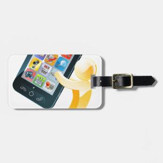 Hombre del oro del teléfono móvil etiqueta para maleta