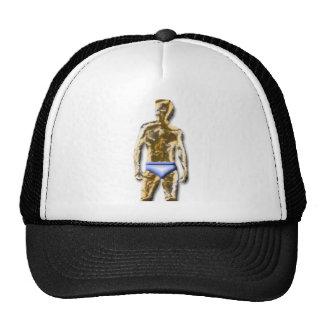 Hombre del oro en prendas íntimas azules gorro de camionero
