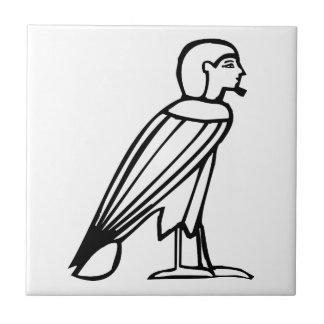 Hombre del pájaro (alma), jeroglífico egipcio azulejo cuadrado pequeño