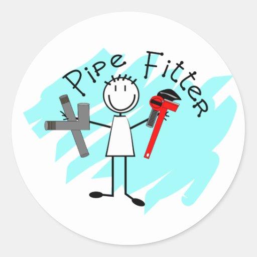 Hombre del palillo del ajustador de tubo etiquetas redondas